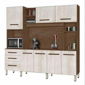 Kit Cozinha Holanda - 7 Portas 3 Gavetas - Amêndoa e Avelã - CSA Móveis