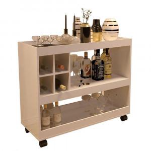 Aparador Bar Luxo 4050 - c/ Mini Adega e 3 Repartições - Pérola - JB Bechara