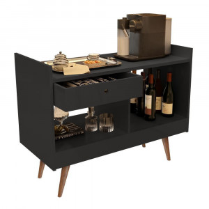 Aparador Bar Buffet Luxo 4064 - c/ Gaveta e 2 Repartições - Preto - JB Bechara