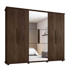 Guarda-Roupa Casal com Espelho 6 Portas 4 Gavetas Canadá - Noce - RV Móveis