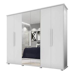 Guarda-Roupa Casal Estrela 6 Portas com Espelho Branco - RV Móveis
