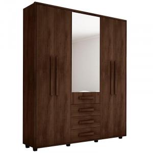 Guarda Roupa Casal com Espelho 5 Portas 3 Gavetas Las Vegas III - Imbuia- RV Moveis