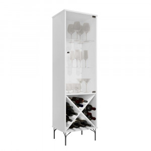 Cristaleira Luxo JB 4048 - Portas e Prateleiras de vidro, Pés em Ferro e Adega - Branco - JB Bechara