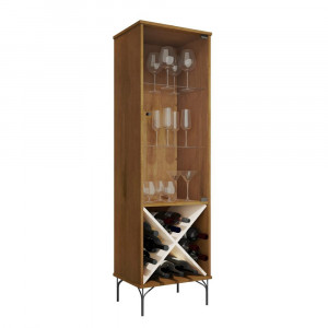 Cristaleira Luxo JB 4048 - Portas e Prateleiras de vidro, Pés em Ferro e Adega - Caramelo com Pérola - JB Bechara