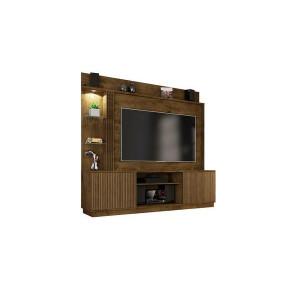 Estante Home Atlanta para TVs até 65 Polegadas 2 Portas LED Embutido Madeira Rústica Preto Fosco Ripado Móveis Bechara