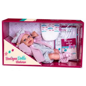 Boneca Dolls Reborn Casaco Rosa Super Toys 472