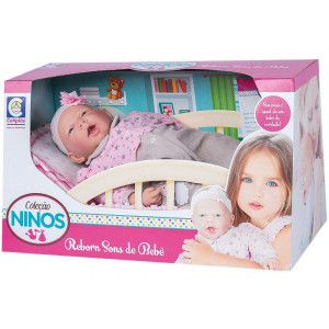 Boneca Coleção Ninos Reborn Sons de Bebê Boca Aberta Cotiplas 2211