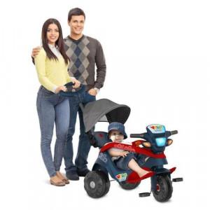 Triciclo Velobaby Reclinável Com Capota Passeio E Pedal Azul Bandeirante 337