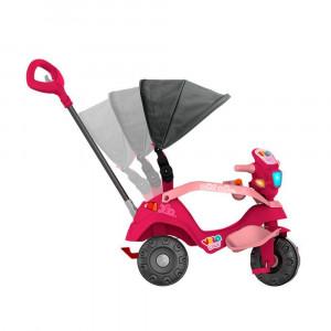 Triciclo Velobaby Reclinável Com Capota Passeio e Pedal Rosa Bandeirante 339