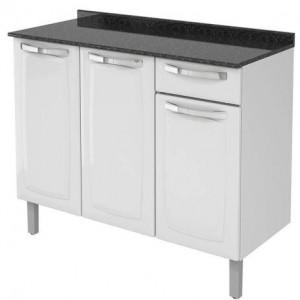 Balcão Cozinha Rose 3 Portas 1 Gaveta Branco IG3G1 105 Itatiaia