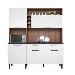Kit Cozinha Compacta Dara 5 Portas 2 Gavetas e Nicho Itatiaia Castanho/Branco 180 Itatiaia