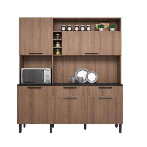 Kit Cozinha Compacta Dara 5 Portas 2 Gavetas e Nicho Itatiaia Castanho 180 Itatiaia