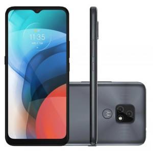 """Smartphone Motorola Moto E7 Cinza Metálico 64GB, 4GB RAM, Tela de 6.5"""", Câmera Traseira Dupla, Android 10 e Processador Octa-Core"""