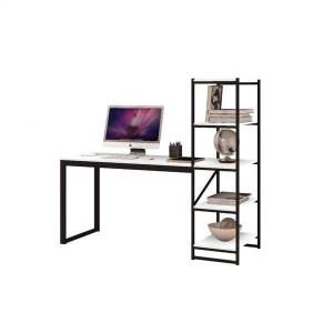Mesa Escrivaninha Home Office Hanover MDF Aço 4 Prateleiras Branco - Radioval