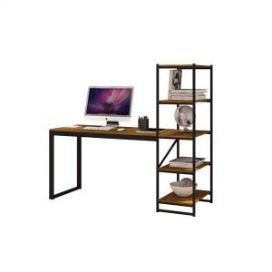 Mesa Escrivaninha Home Office Hanover MDF Aço 4 Prateleiras Castanho - Radioval