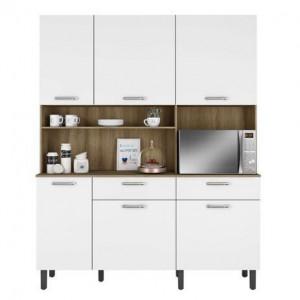 Kit Cozinha Compacta 160 Itatiaia 6 Portas 2 Gavetas Branco/Castanho - Itatiaia