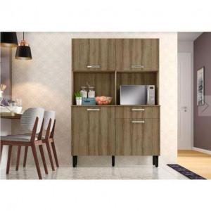 Kit Cozinha Compacta 4 Portas 1 Gaveta com Nicho para Forno I1 Castanho - Itatiaia