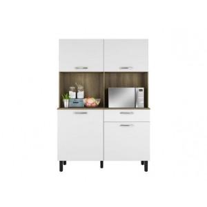 Kit Cozinha Compacta Armário Para Cozinha 4 Portas 1 Gaveta Itatiaia I1 Castanho e Branco