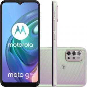 Smartphone Moto G10 64GB 4G Wi-Fi Tela 6.5 Dual Chip 4GB RAM Câm Quádrupla Selfie 8MP Branco Floral - Motorola