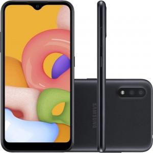 "Smartphone Samsung Galaxy A01 - 2GB RAM 32GB Câmera Dupla 13MP + Selfie 5MP Tela 5.7"" Android 10 - Preto"