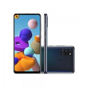 "Smartphone Samsung Galaxy A21s - 4GB RAM 64GB Câmera Quádrupla 48MP + Selfie 13MP Tela 6.5"" Android 10 - Preto"