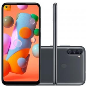 "Smartphone Samsung Galaxy A11 - 3GB RAM 64GB Câmera Tripla 13MP + Selfie 8MP Tela 6.4"" Android 10 - Preto"
