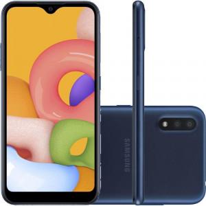 "Smartphone Samsung Galaxy A01 2GB RAM 32GB Câmera Dupla 13MP + Selfie 5MP Tela 5.7"" Android 10 Azul"