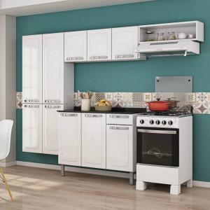 Cozinha Completa em Aço com Balcão Itataia Rose - 10 Portas 1 Gaveta 1 Nicho - Branca